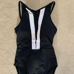 Black and White one piece bathing suit